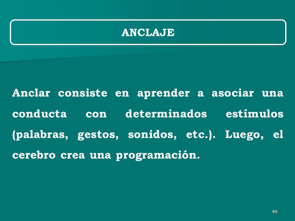 49 ANCLAJE Anclar consiste en aprender a asociar una conducta con determinados estímulos (palabras, gestos, sonidos, etc.).