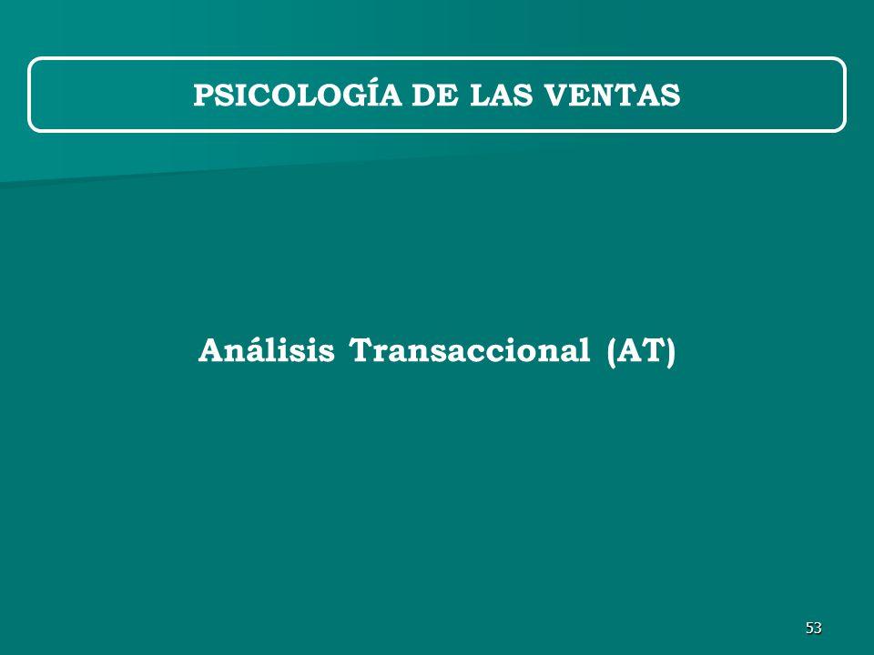 53 PSICOLOGÍA DE LAS VENTAS Análisis Transaccional (AT)