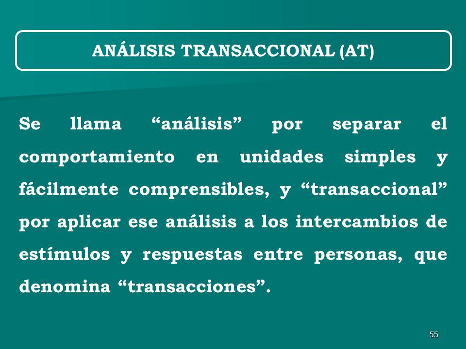 55 Se llama análisis por separar el comportamiento en unidades simples y fácilmente comprensibles, y transaccional por aplicar ese análisis a los intercambios de estímulos y respuestas entre personas, que denomina transacciones .