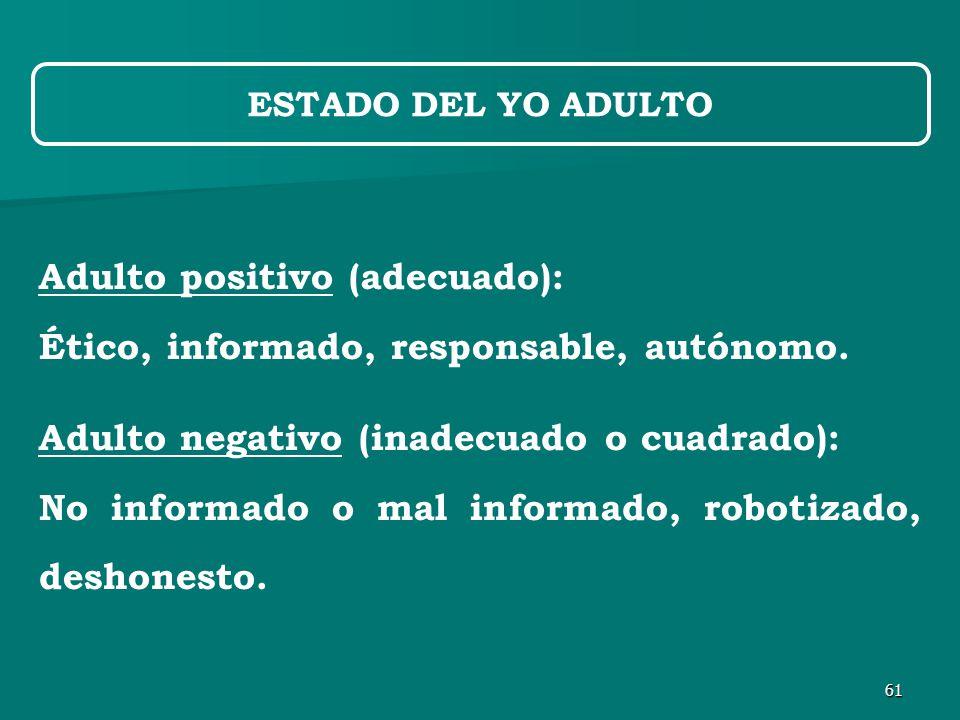 61 Adulto positivo (adecuado): Ético, informado, responsable, autónomo.