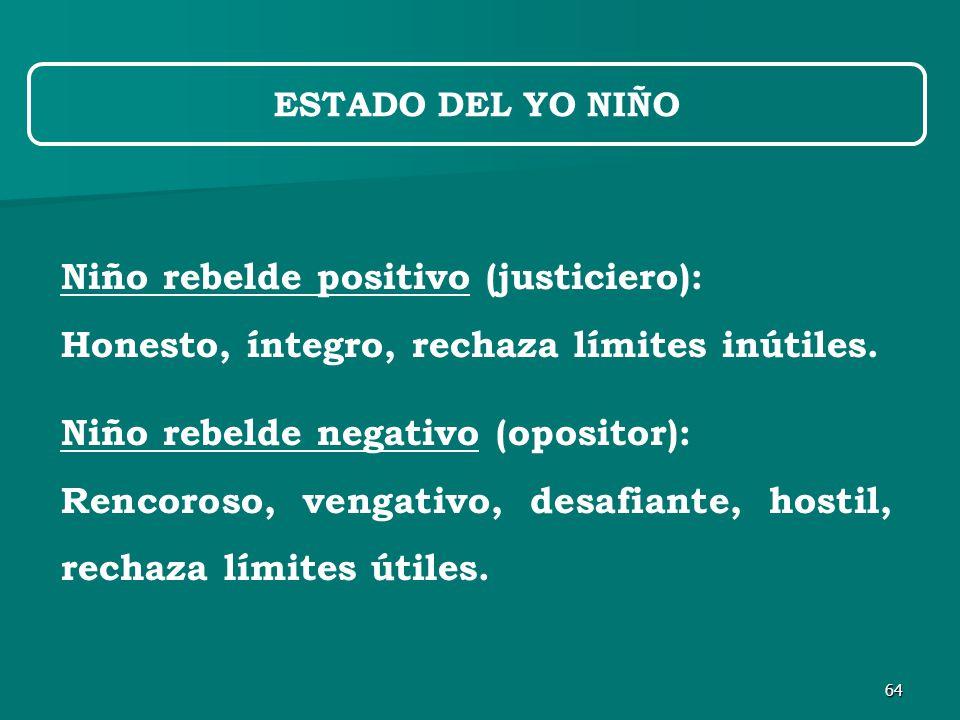 64 Niño rebelde positivo (justiciero): Honesto, íntegro, rechaza límites inútiles.