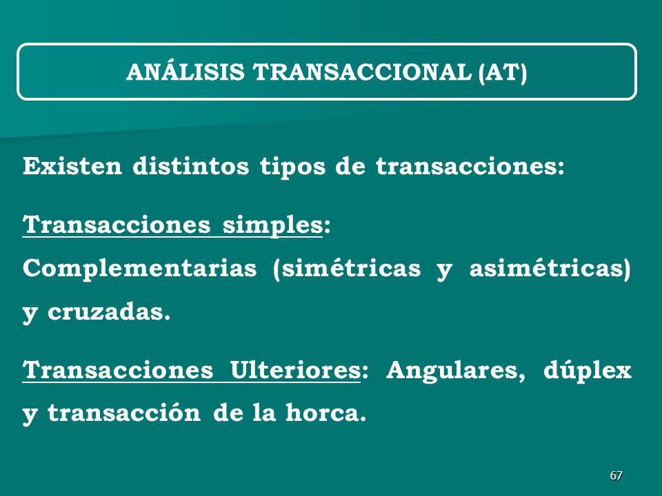 67 ANÁLISIS TRANSACCIONAL (AT) Existen distintos tipos de transacciones: Transacciones simples: Complementarias (simétricas y asimétricas) y cruzadas.