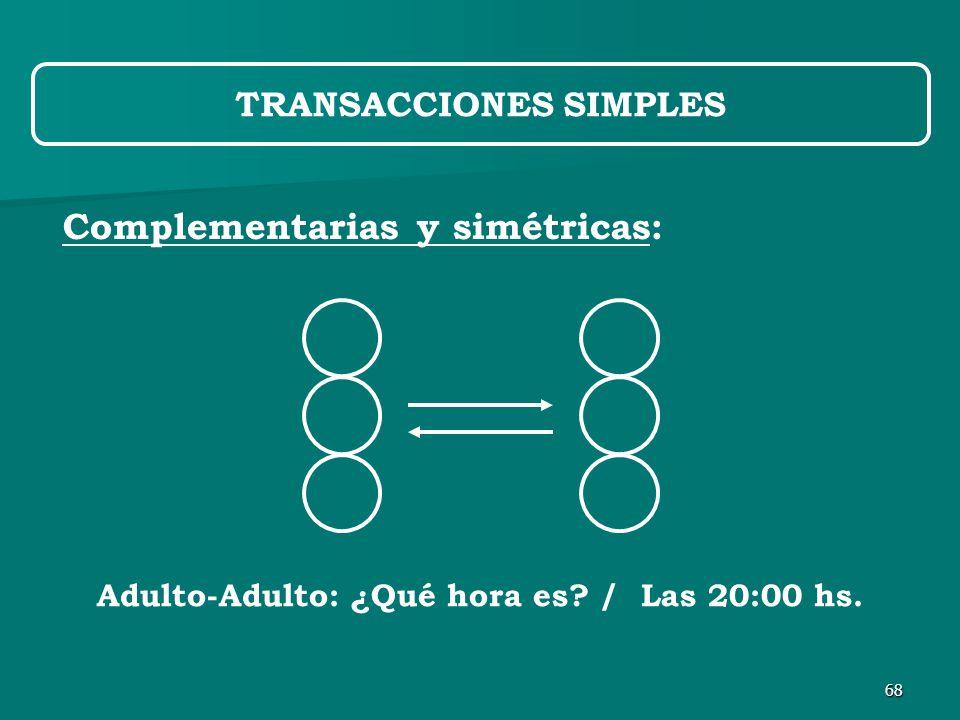 68 Complementarias y simétricas: TRANSACCIONES SIMPLES Adulto-Adulto: ¿Qué hora es / Las 20:00 hs.