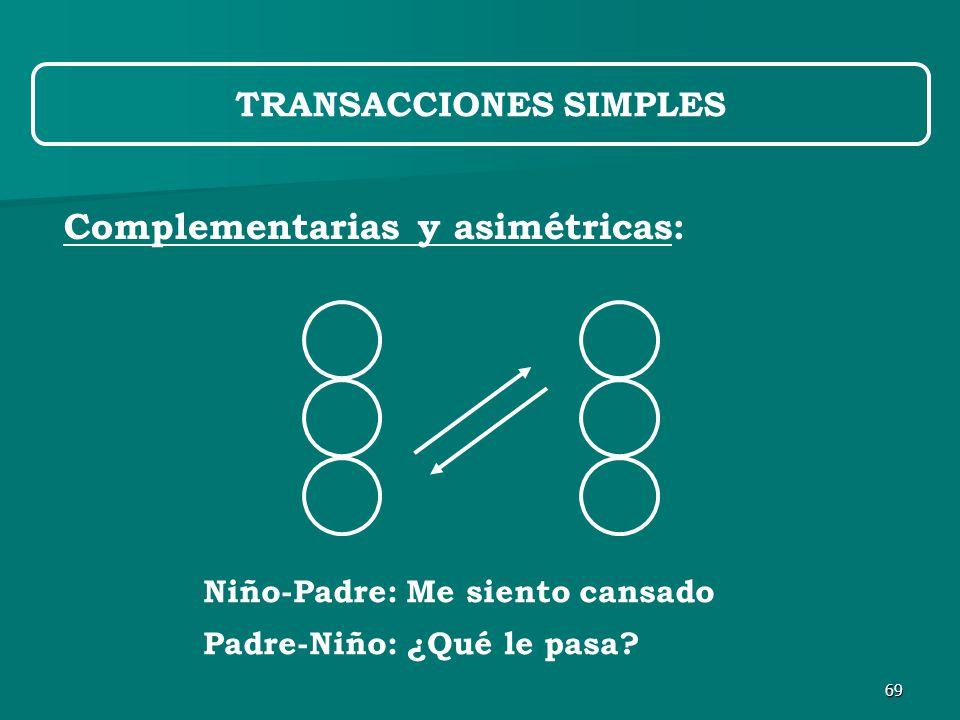69 Complementarias y asimétricas: TRANSACCIONES SIMPLES Niño-Padre: Me siento cansado Padre-Niño: ¿Qué le pasa
