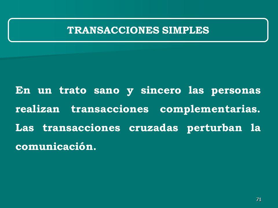 71 En un trato sano y sincero las personas realizan transacciones complementarias.