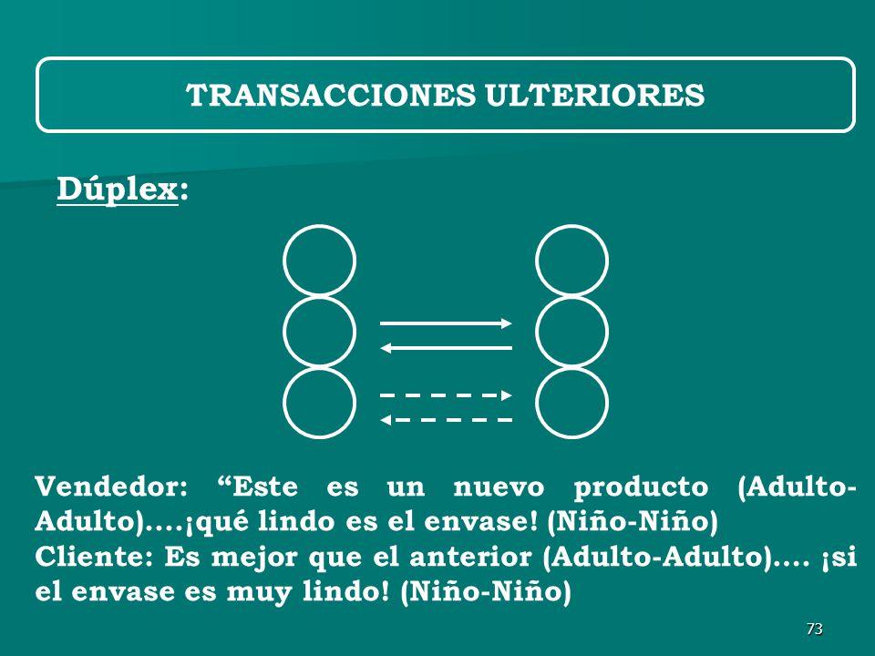 73 Dúplex: TRANSACCIONES ULTERIORES Vendedor: Este es un nuevo producto (Adulto- Adulto)....¡qué lindo es el envase.