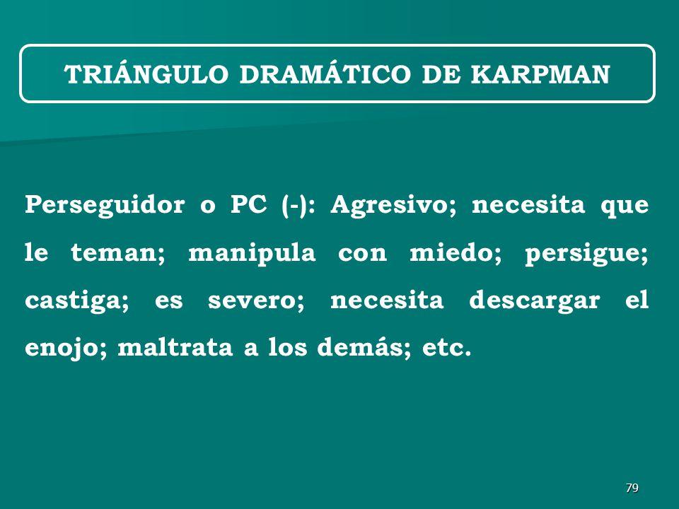 79 Perseguidor o PC (-): Agresivo; necesita que le teman; manipula con miedo; persigue; castiga; es severo; necesita descargar el enojo; maltrata a los demás; etc.