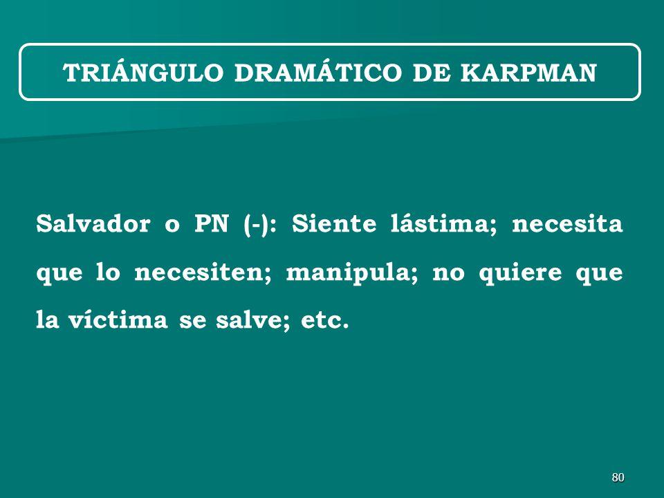 80 Salvador o PN (-): Siente lástima; necesita que lo necesiten; manipula; no quiere que la víctima se salve; etc.