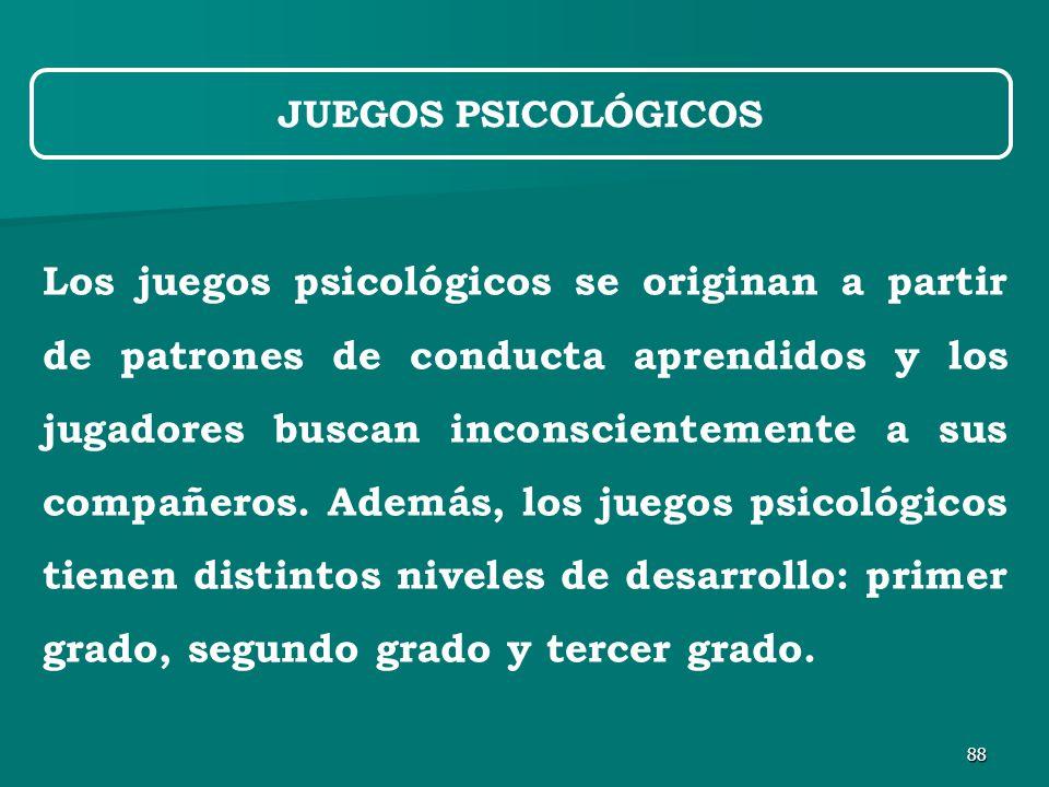 88 Los juegos psicológicos se originan a partir de patrones de conducta aprendidos y los jugadores buscan inconscientemente a sus compañeros.