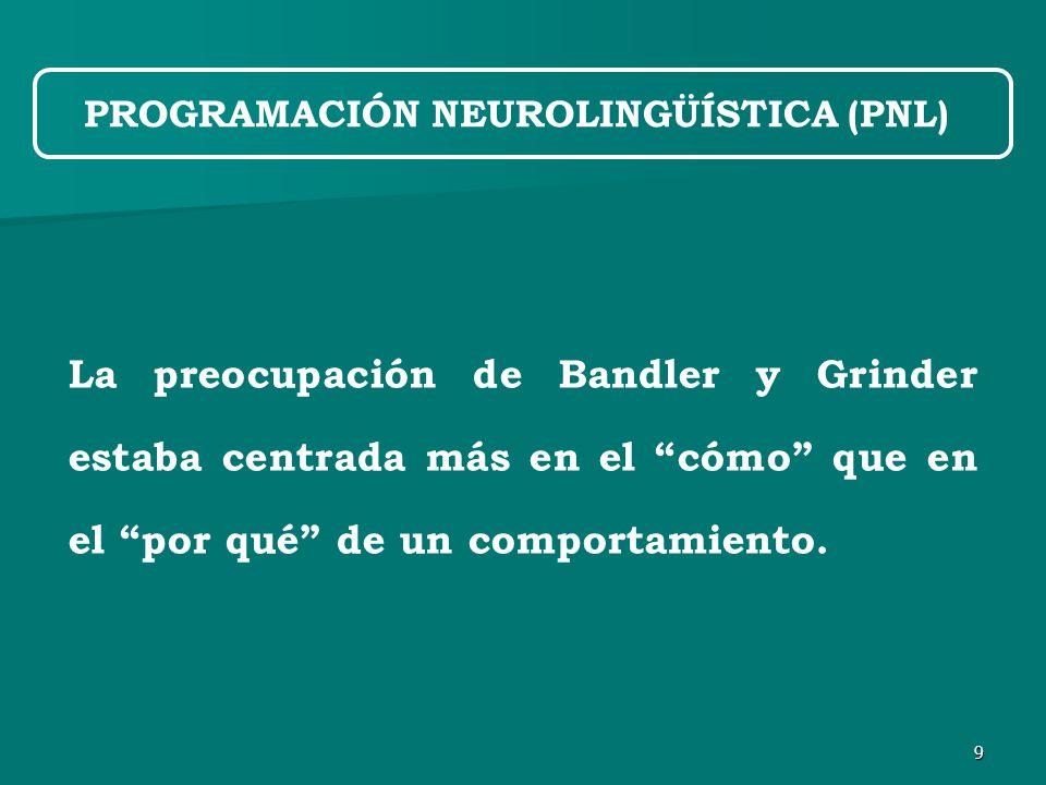 9 La preocupación de Bandler y Grinder estaba centrada más en el cómo que en el por qué de un comportamiento.