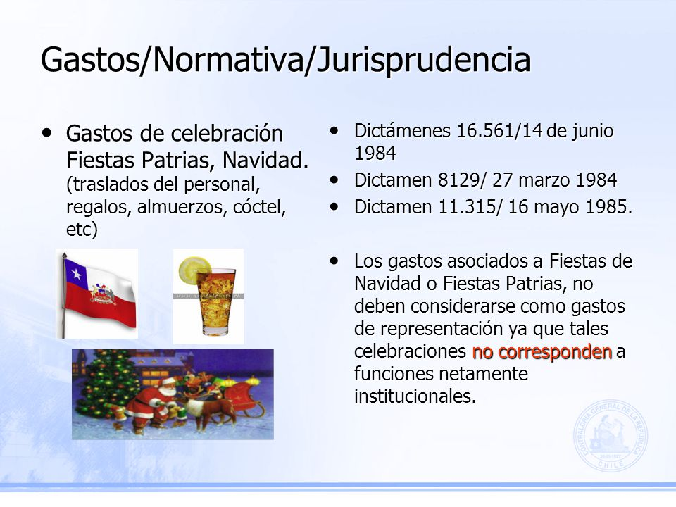 Gastos/Normativa/Jurisprudencia Dictámenes 16.561/14 de junio 1984 Dictámenes 16.561/14 de junio 1984 Dictamen 8129/ 27 marzo 1984 Dictamen 8129/ 27 marzo 1984 Dictamen 11.315/ 16 mayo 1985.