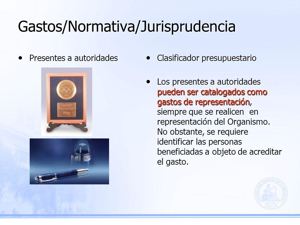 Gastos/Normativa/Jurisprudencia Clasificador presupuestario Clasificador presupuestario Los presentes a autoridades pueden ser catalogados como gastos de representación, siempre que se realicen en representación del Organismo.