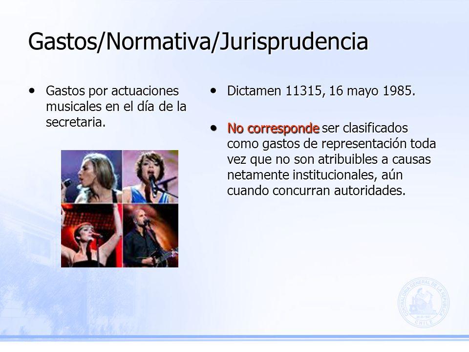 Gastos/Normativa/Jurisprudencia Dictamen 11315, 16 mayo 1985.