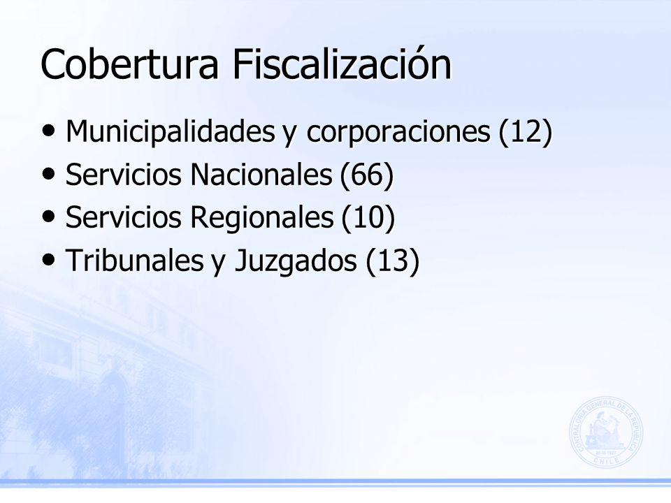 Cobertura Fiscalización Municipalidades y corporaciones (12) Municipalidades y corporaciones (12) Servicios Nacionales (66) Servicios Nacionales (66) Servicios Regionales (10) Servicios Regionales (10) Tribunales y Juzgados (13) Tribunales y Juzgados (13)