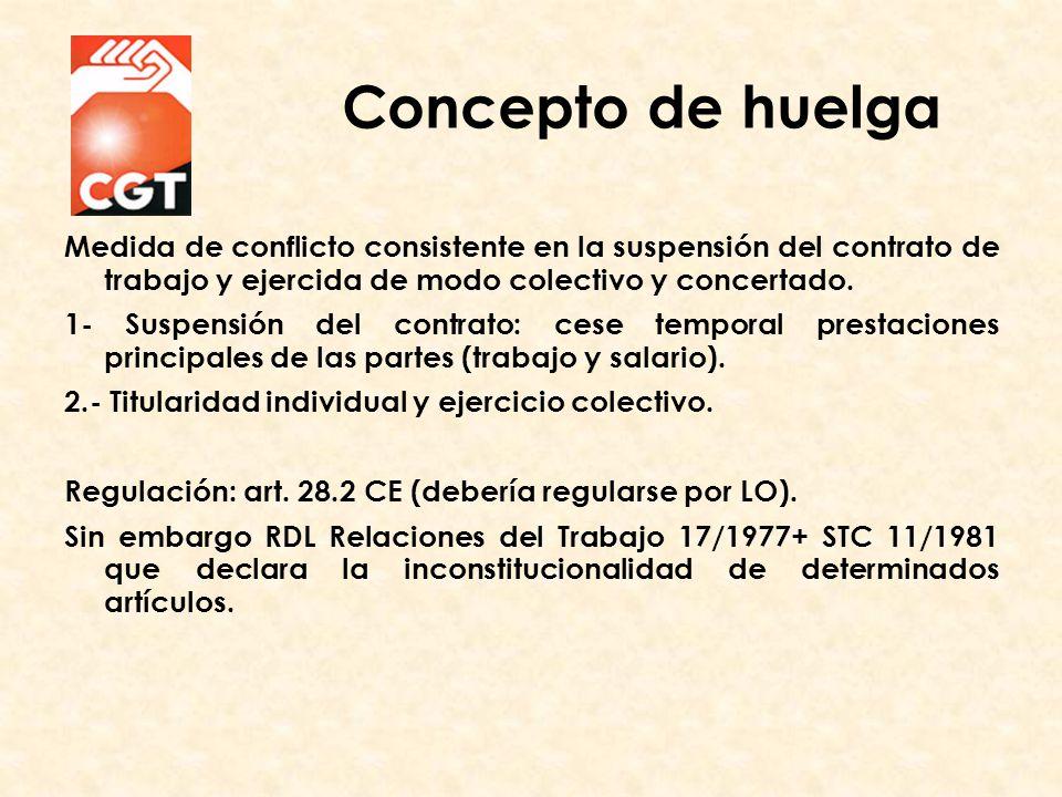 Medida de conflicto consistente en la suspensión del contrato de trabajo y ejercida de modo colectivo y concertado.