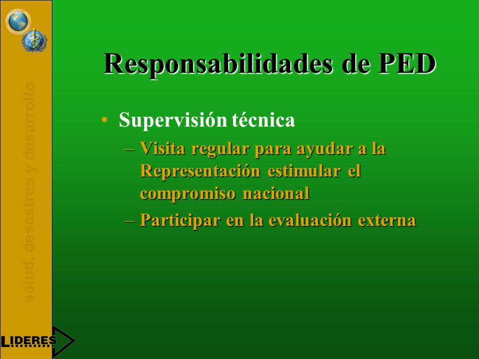 salud, desastres y desarrollo Responsabilidades de PED Supervisión técnica –Visita regular para ayudar a la Representación estimular el compromiso nacional –Participar en la evaluación externa