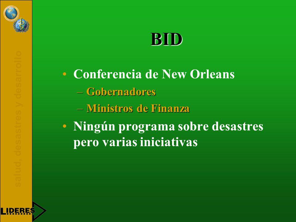 salud, desastres y desarrollo BID Conferencia de New Orleans –Gobernadores –Ministros de Finanza Ningún programa sobre desastres pero varias iniciativas