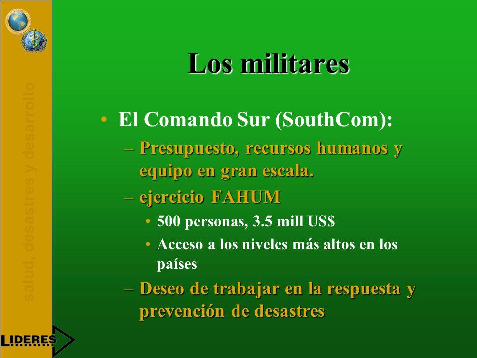 salud, desastres y desarrollo Los militares El Comando Sur (SouthCom): –Presupuesto, recursos humanos y equipo en gran escala.