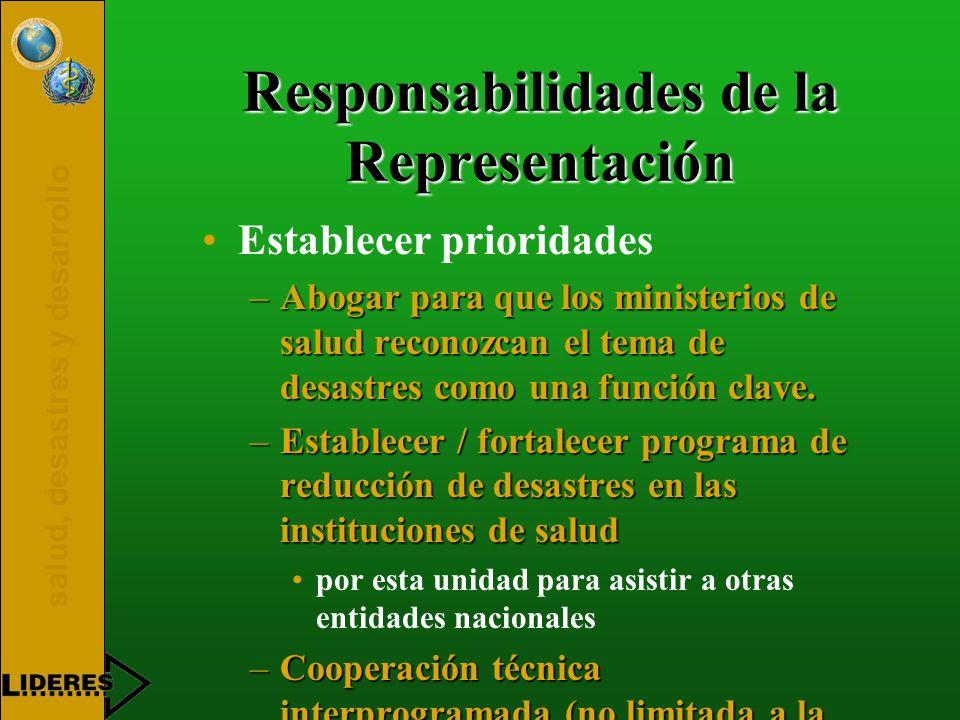 salud, desastres y desarrollo Responsabilidades de la Representación Establecer prioridades –Abogar para que los ministerios de salud reconozcan el tema de desastres como una función clave.