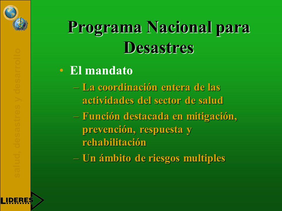 salud, desastres y desarrollo Programa Nacional para Desastres El mandato –La coordinación entera de las actividades del sector de salud –Función destacada en mitigación, prevención, respuesta y rehabilitación –Un ámbito de riesgos multiples