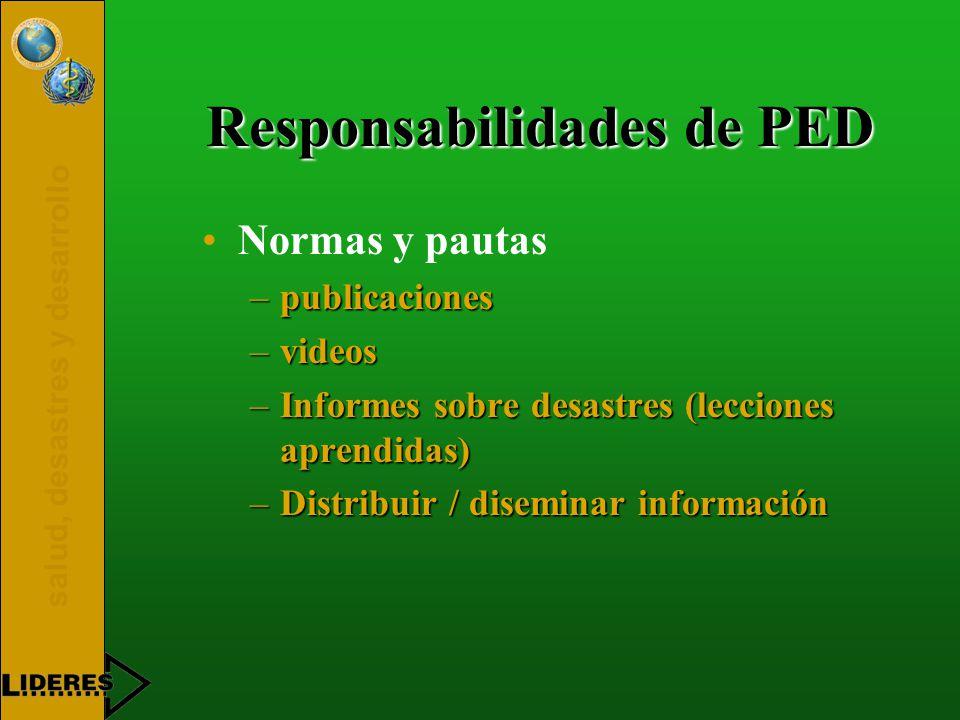 salud, desastres y desarrollo Responsabilidades de PED Normas y pautas –publicaciones –videos –Informes sobre desastres (lecciones aprendidas) –Distribuir / diseminar información