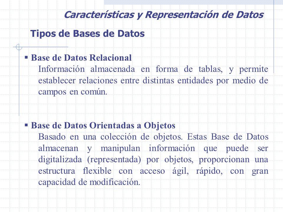 Tipos de Bases de Datos  Base de Datos Relacional Información almacenada en forma de tablas, y permite establecer relaciones entre distintas entidades por medio de campos en común.