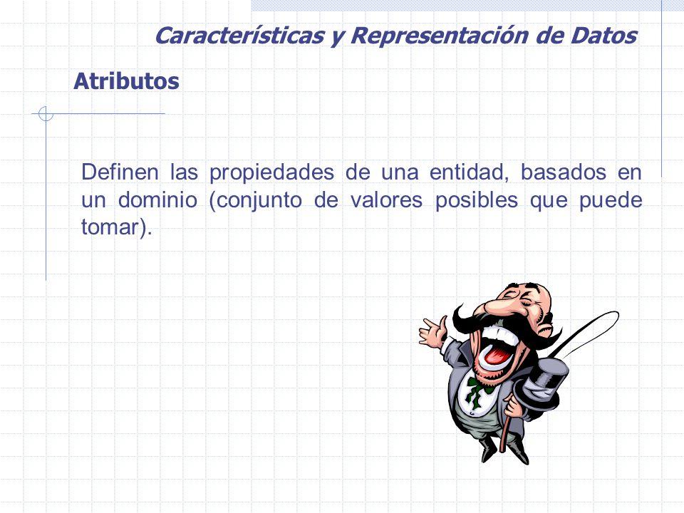 Atributos Definen las propiedades de una entidad, basados en un dominio (conjunto de valores posibles que puede tomar).