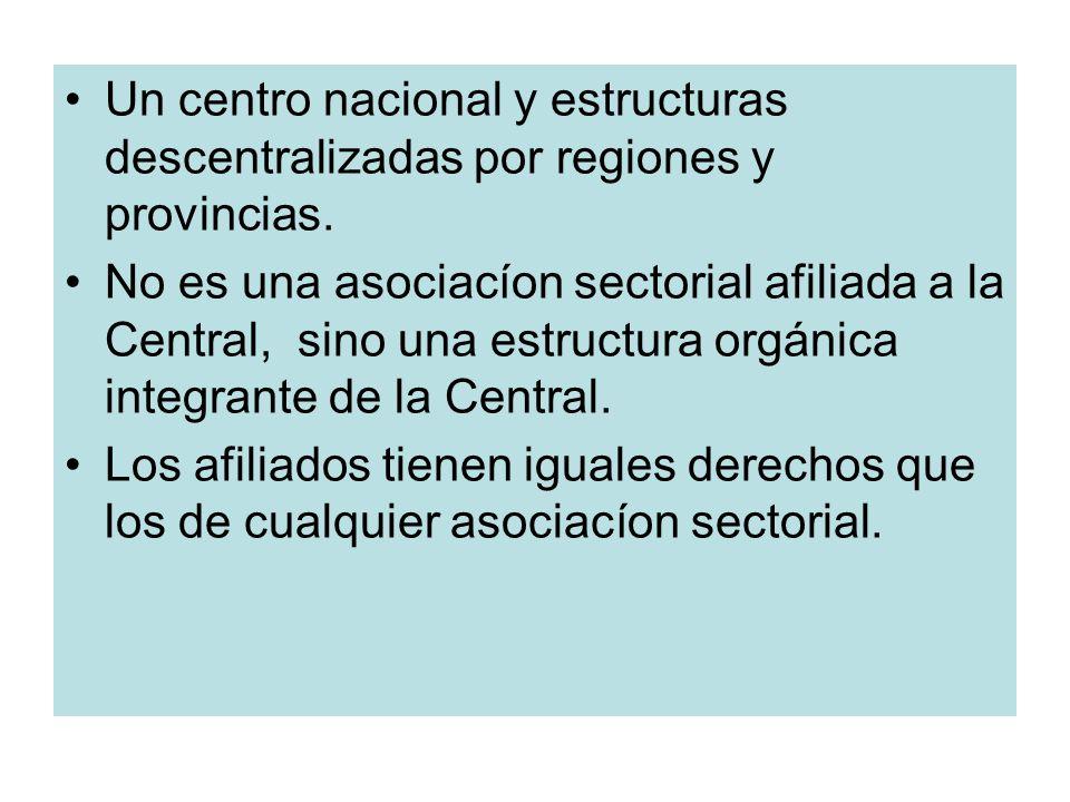 Un centro nacional y estructuras descentralizadas por regiones y provincias.