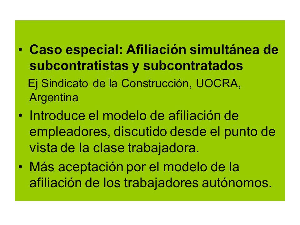 Caso especial: Afiliación simultánea de subcontratistas y subcontratados Ej Sindicato de la Construcción, UOCRA, Argentina Introduce el modelo de afiliación de empleadores, discutido desde el punto de vista de la clase trabajadora.