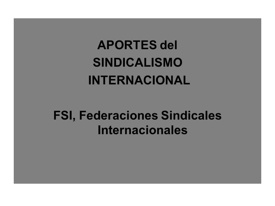 APORTES del SINDICALISMO INTERNACIONAL FSI, Federaciones Sindicales Internacionales
