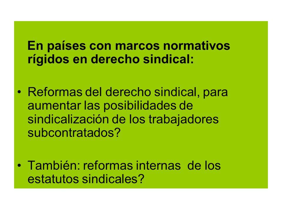 En países con marcos normativos rígidos en derecho sindical: Reformas del derecho sindical, para aumentar las posibilidades de sindicalización de los trabajadores subcontratados.