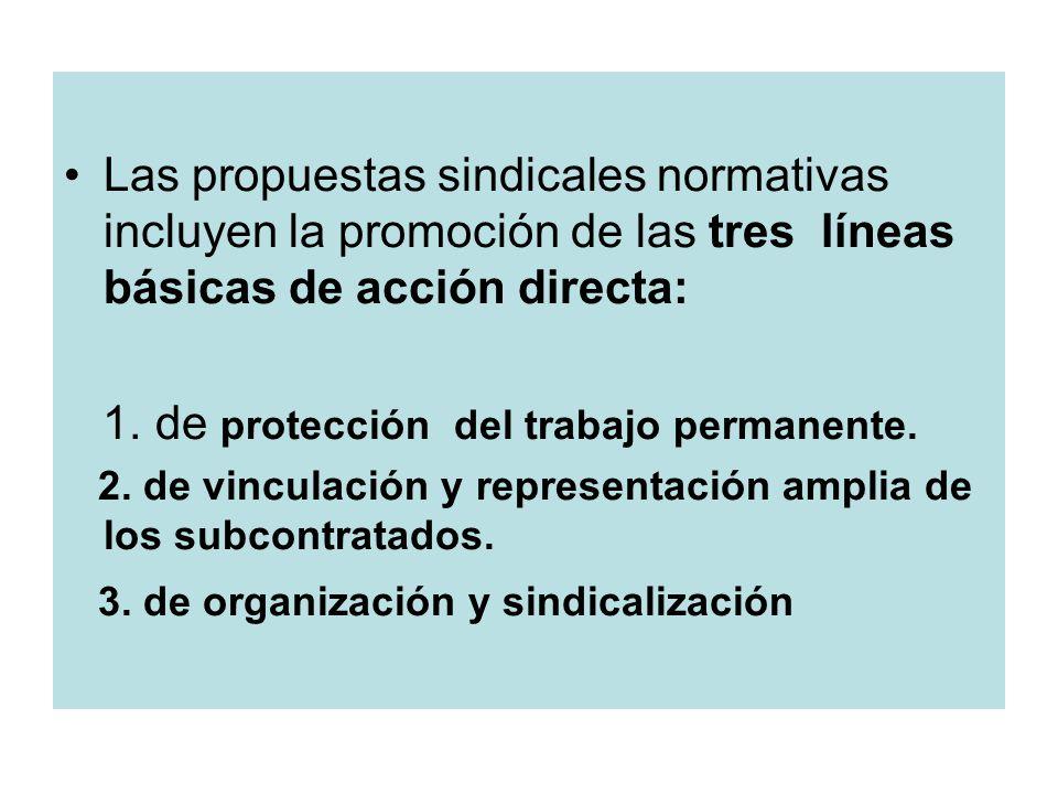 Las propuestas sindicales normativas incluyen la promoción de las tres líneas básicas de acción directa: 1.