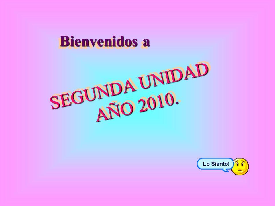 Bienvenidos a SEGUNDA UNIDAD AÑO 2010. SEGUNDA UNIDAD AÑO 2010.