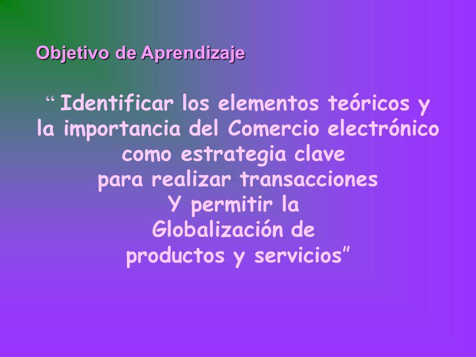 Objetivo de Aprendizaje Identificar los elementos teóricos y la importancia del Comercio electrónico como estrategia clave para realizar transacciones Y permitir la Globalización de productos y servicios