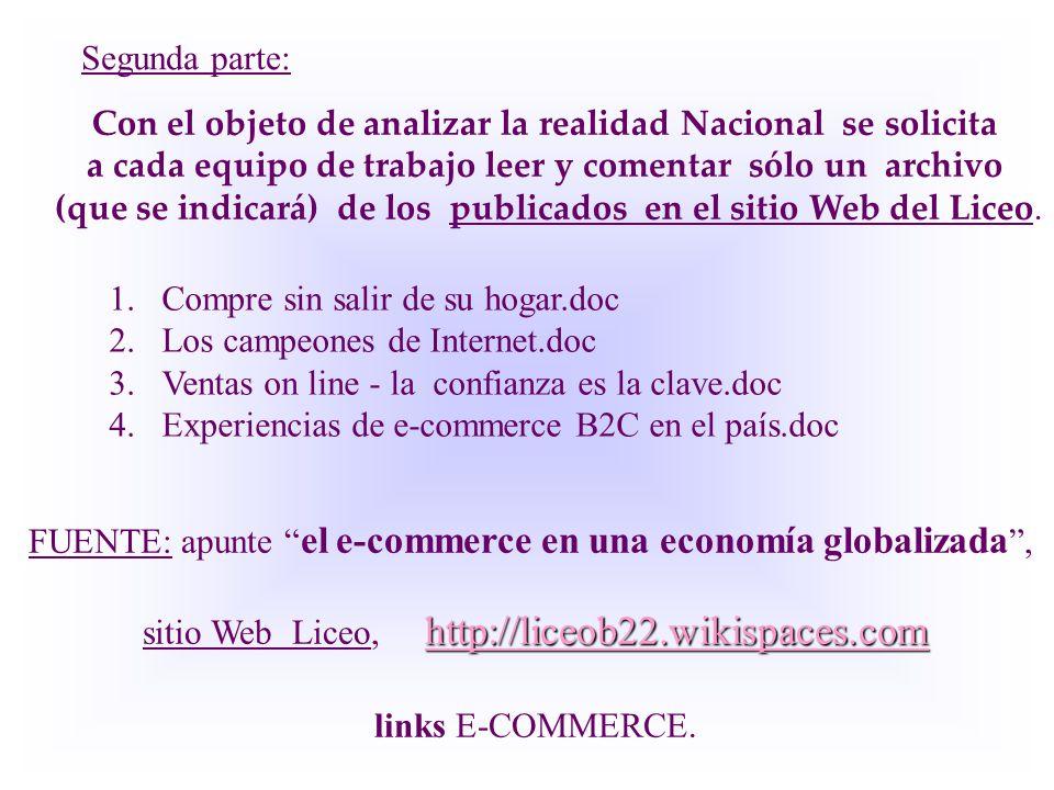 1.Compre sin salir de su hogar.doc 2.Los campeones de Internet.doc 3.Ventas on line - la confianza es la clave.doc 4.Experiencias de e-commerce B2C en el país.doc FUENTE: apunte el e-commerce en una economía globalizada , http://liceob22.wikispaces.com http://liceob22.wikispaces.com sitio Web Liceo, http://liceob22.wikispaces.com http://liceob22.wikispaces.com links E-COMMERCE.
