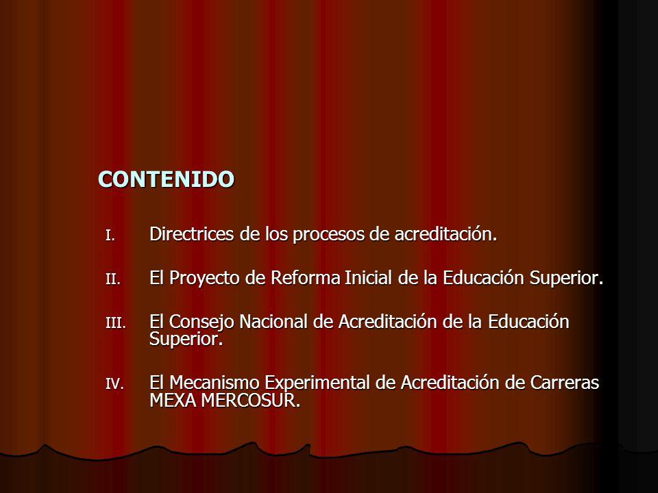 CONTENIDO I. Directrices de los procesos de acreditación.
