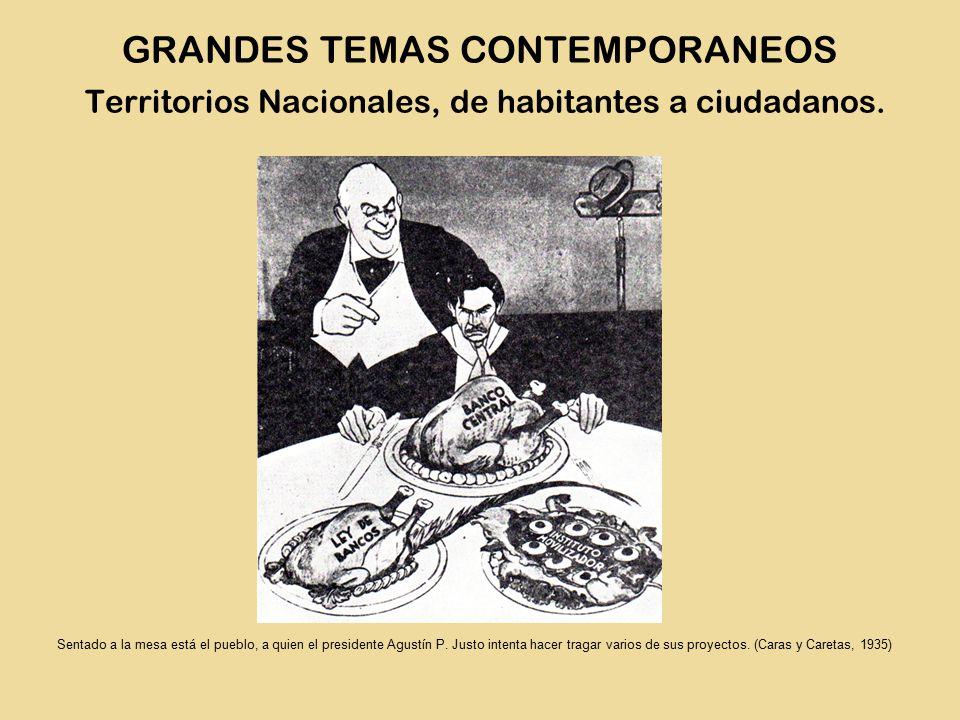 Sentado a la mesa está el pueblo, a quien el presidente Agustín P.