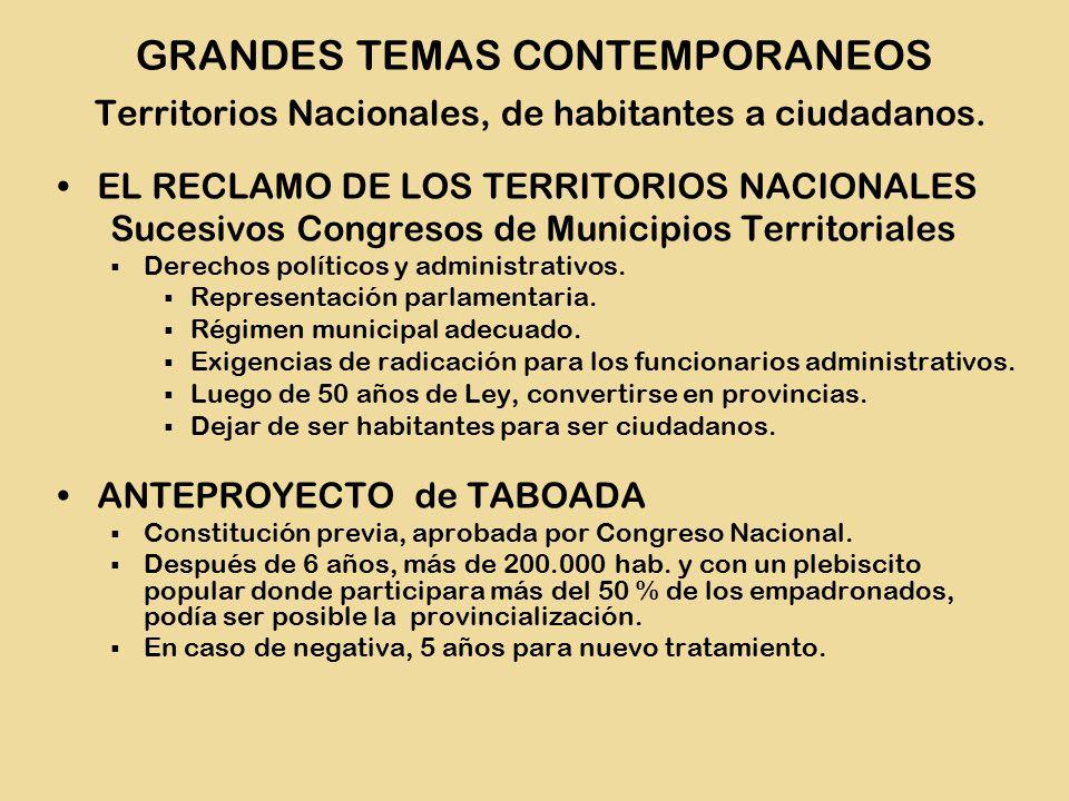 EL RECLAMO DE LOS TERRITORIOS NACIONALES Sucesivos Congresos de Municipios Territoriales  Derechos políticos y administrativos.
