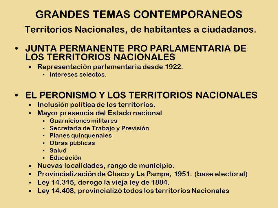 JUNTA PERMANENTE PRO PARLAMENTARIA DE LOS TERRITORIOS NACIONALES  Representación parlamentaria desde 1922.