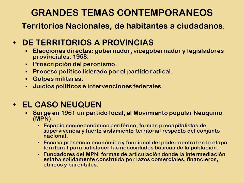 DE TERRITORIOS A PROVINCIAS  Elecciones directas: gobernador, vicegobernador y legisladores provinciales.