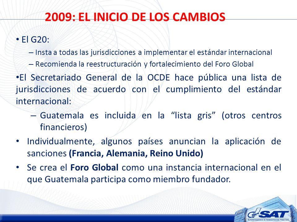 2009: EL INICIO DE LOS CAMBIOS El G20: – Insta a todas las jurisdicciones a implementar el estándar internacional – Recomienda la reestructuración y fortalecimiento del Foro Global El Secretariado General de la OCDE hace pública una lista de jurisdicciones de acuerdo con el cumplimiento del estándar internacional: – Guatemala es incluida en la lista gris (otros centros financieros) Individualmente, algunos países anuncian la aplicación de sanciones (Francia, Alemania, Reino Unido) Se crea el Foro Global como una instancia internacional en el que Guatemala participa como miembro fundador.