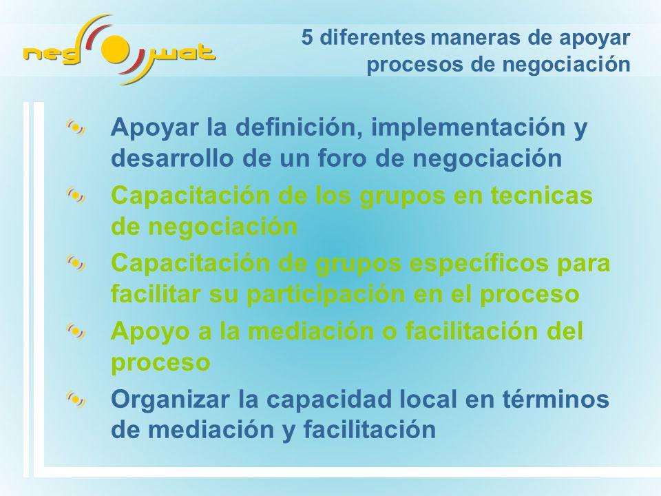 5 diferentes maneras de apoyar procesos de negociación Apoyar la definición, implementación y desarrollo de un foro de negociación Capacitación de los grupos en tecnicas de negociación Capacitación de grupos específicos para facilitar su participación en el proceso Apoyo a la mediación o facilitación del proceso Organizar la capacidad local en términos de mediación y facilitación