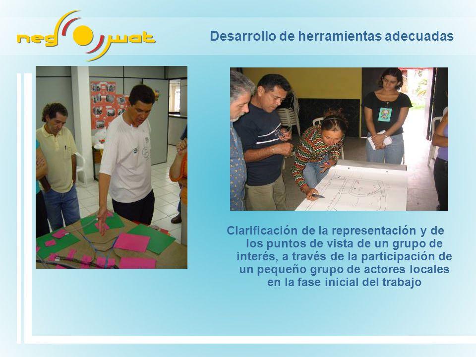 Desarrollo de herramientas adecuadas Clarificación de la representación y de los puntos de vista de un grupo de interés, a través de la participación de un pequeño grupo de actores locales en la fase inicial del trabajo