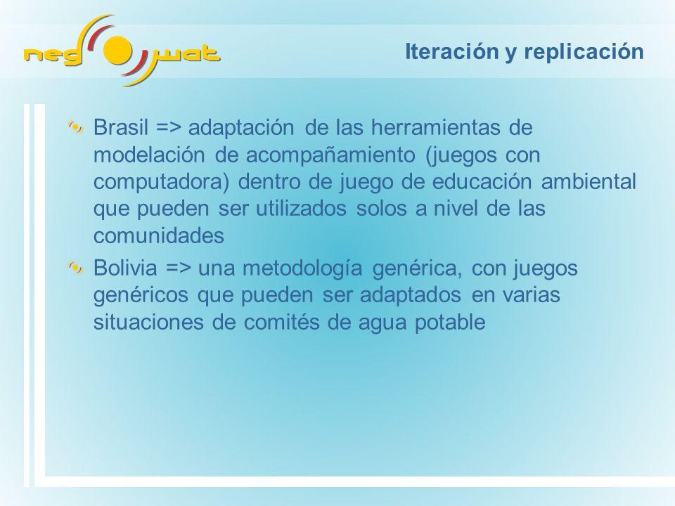 Iteración y replicación Brasil => adaptación de las herramientas de modelación de acompañamiento (juegos con computadora) dentro de juego de educación ambiental que pueden ser utilizados solos a nivel de las comunidades Bolivia => una metodología genérica, con juegos genéricos que pueden ser adaptados en varias situaciones de comités de agua potable