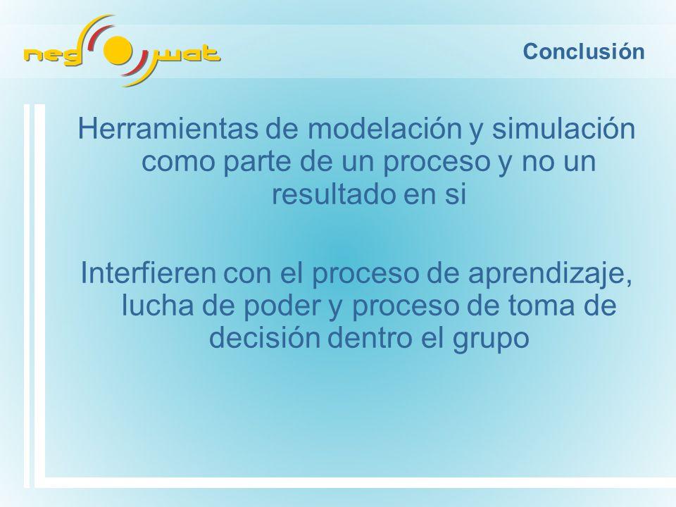 Conclusión Herramientas de modelación y simulación como parte de un proceso y no un resultado en si Interfieren con el proceso de aprendizaje, lucha de poder y proceso de toma de decisión dentro el grupo