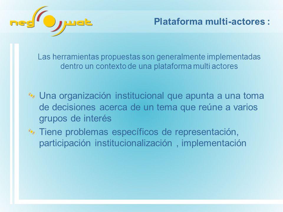Plataforma multi-actores : Una organización institucional que apunta a una toma de decisiones acerca de un tema que reúne a varios grupos de interés Tiene problemas específicos de representación, participación institucionalización, implementación Las herramientas propuestas son generalmente implementadas dentro un contexto de una plataforma multi actores