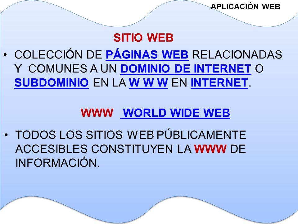 APLICACIÓN WEB SITIO WEB COLECCIÓN DE PÁGINAS WEB RELACIONADAS Y COMUNES A UN DOMINIO DE INTERNET O SUBDOMINIO EN LA W W W EN INTERNET.PÁGINAS WEBDOMINIO DE INTERNET SUBDOMINIOW W WINTERNET WWW WORLD WIDE WEB WORLD WIDE WEB TODOS LOS SITIOS WEB PÚBLICAMENTE ACCESIBLES CONSTITUYEN LA WWW DE INFORMACIÓN.