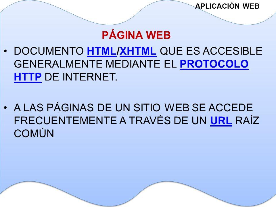APLICACIÓN WEB DOCUMENTO HTML/XHTML QUE ES ACCESIBLE GENERALMENTE MEDIANTE EL PROTOCOLO HTTP DE INTERNET.HTMLXHTMLPROTOCOLO HTTP A LAS PÁGINAS DE UN SITIO WEB SE ACCEDE FRECUENTEMENTE A TRAVÉS DE UN URL RAÍZ COMÚNURL PÁGINA WEB