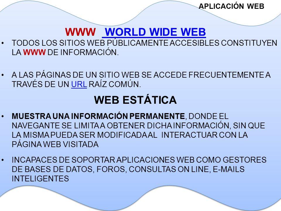 APLICACIÓN WEB WWW WORLD WIDE WEB WORLD WIDE WEB TODOS LOS SITIOS WEB PÚBLICAMENTE ACCESIBLES CONSTITUYEN LA WWW DE INFORMACIÓN.