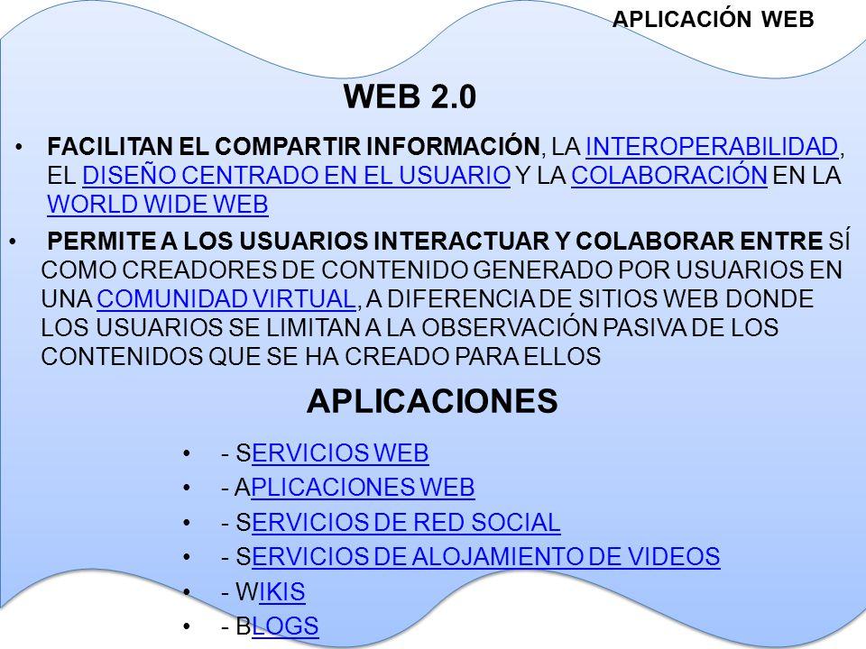 APLICACIONES APLICACIÓN WEB WEB 2.0 FACILITAN EL COMPARTIR INFORMACIÓN, LA INTEROPERABILIDAD, EL DISEÑO CENTRADO EN EL USUARIO Y LA COLABORACIÓN EN LA WORLD WIDE WEBINTEROPERABILIDADDISEÑO CENTRADO EN EL USUARIOCOLABORACIÓN WORLD WIDE WEB PERMITE A LOS USUARIOS INTERACTUAR Y COLABORAR ENTRE SÍ COMO CREADORES DE CONTENIDO GENERADO POR USUARIOS EN UNA COMUNIDAD VIRTUAL, A DIFERENCIA DE SITIOS WEB DONDE LOS USUARIOS SE LIMITAN A LA OBSERVACIÓN PASIVA DE LOS CONTENIDOS QUE SE HA CREADO PARA ELLOSCOMUNIDAD VIRTUAL - SERVICIOS WEBERVICIOS WEB - APLICACIONES WEBPLICACIONES WEB - SERVICIOS DE RED SOCIALERVICIOS DE RED SOCIAL - SERVICIOS DE ALOJAMIENTO DE VIDEOSERVICIOS DE ALOJAMIENTO DE VIDEOS - WIKISIKIS - BLOGSLOGS